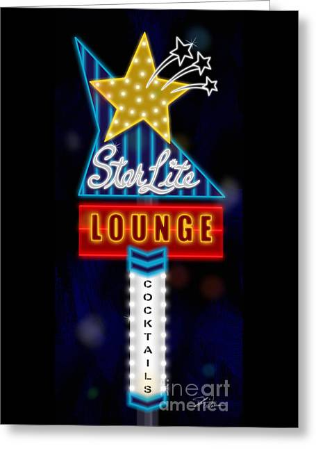 Nightclub Sign Starlite Lounge Greeting Card by Shari Warren