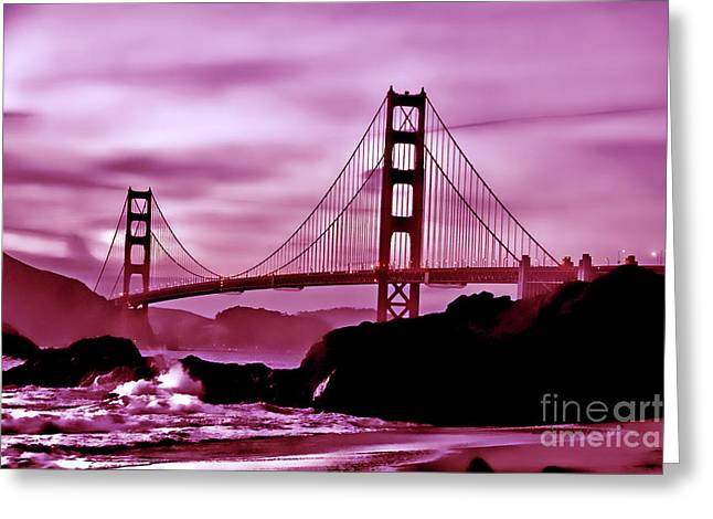 Nightfall At The Golden Gate Greeting Card