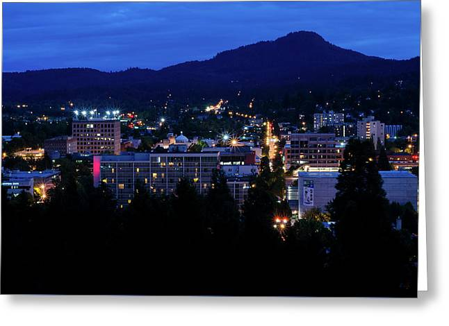 Nightfall Over Eugene Greeting Card
