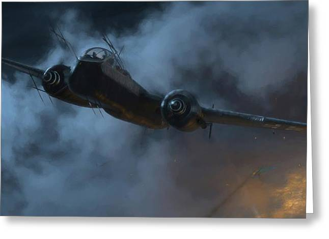Nightfighter - Painterly Greeting Card by Robert Perry