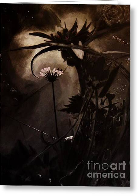 Greeting Card featuring the painting Nightflower by Vanessa Palomino