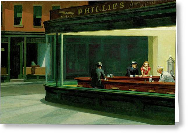 Greeting Card featuring the painting Nighthawks by Artist A
