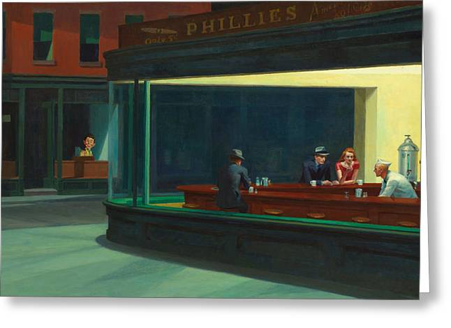 Nighthawks Plus Alfred Greeting Card by Garland Johnson