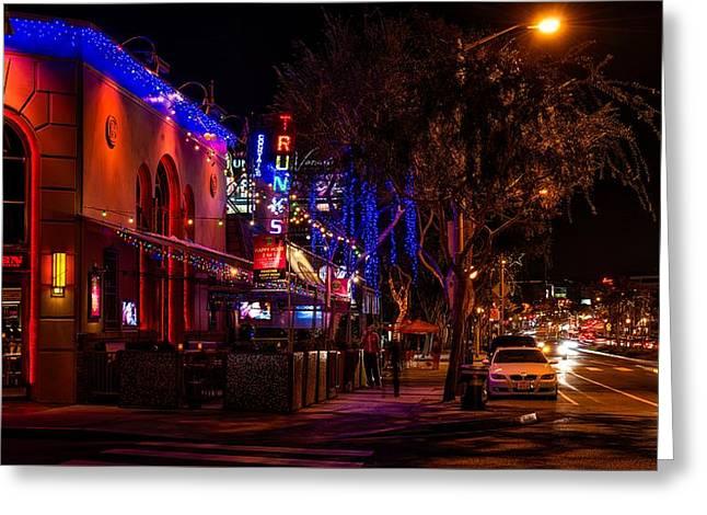 Nightlife On Santa Monica Boulevard Greeting Card by Mountain Dreams