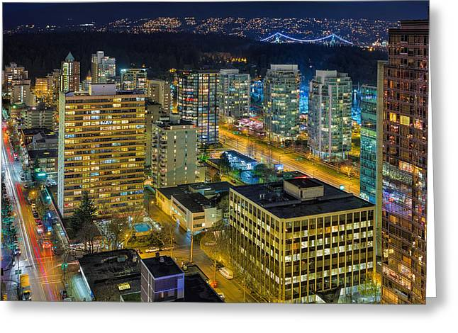 Nightlife On The Other End Of Robson Street Greeting Card by David Gn