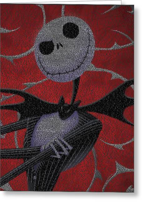 Nightmare Before Christmas Script Mosaic Greeting Card