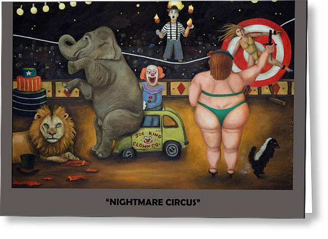 Nightmare Circus With Lettering Greeting Card by Leah Saulnier The Painting Maniac