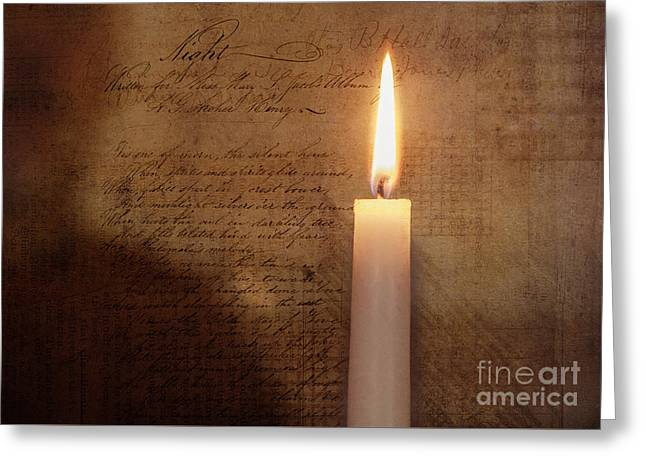 Night's Candle Greeting Card by Terry Rowe