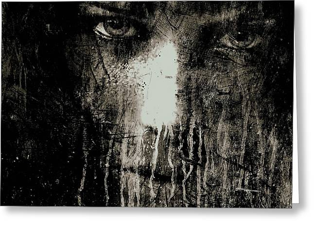 Nights Eyes Black And White Greeting Card by Marian Voicu