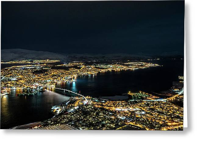 Nightscape Of Tromso Greeting Card by Travel Quest Photography