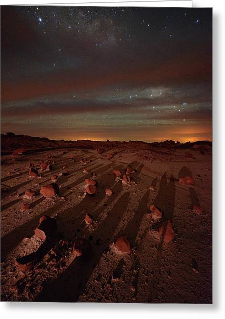 Nightscape Shadows On Planet Mars Greeting Card by Mike Berenson