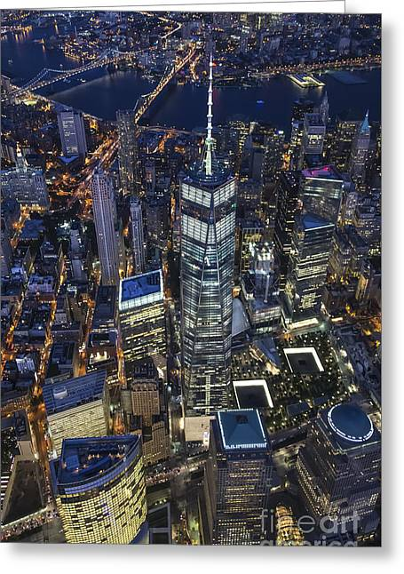 Nighttime Aerial View Of 1 Wtc Greeting Card