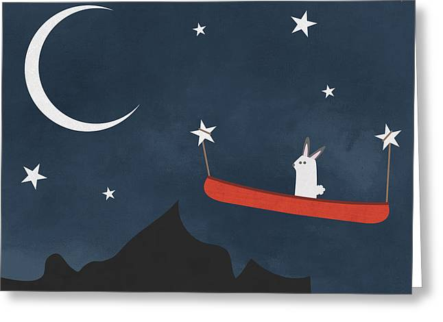 Nighttime Canoe Nursery Art Greeting Card