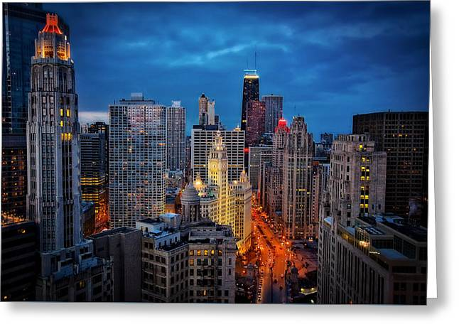 Nighttime Downtown Chicago Cityscape Greeting Card by Jennifer Rondinelli Reilly - Fine Art Photography