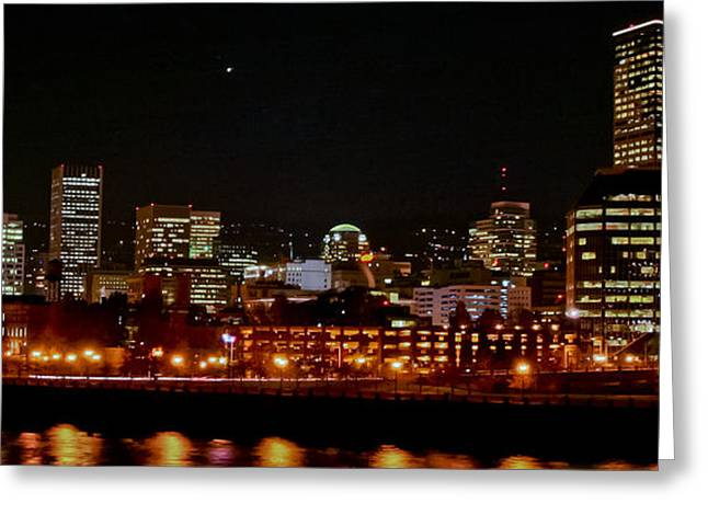 Nighttime In Pdx Greeting Card