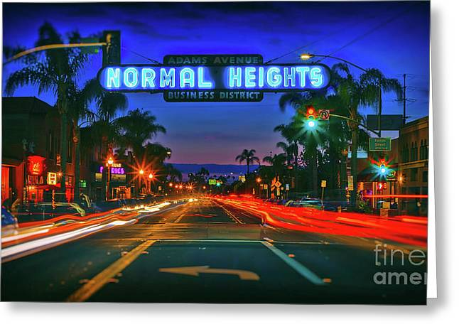 Nighttime Neon In Normal Heights, San Diego, California Greeting Card