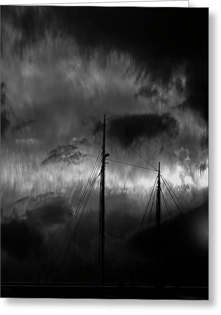 Nighttime On The Docks Greeting Card by Bob Orsillo