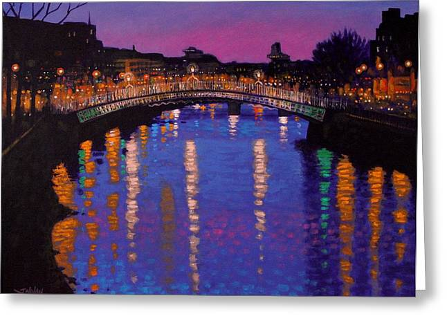 Framed Print Greeting Cards - Nighttown Ha Penny Bridge Dublin Greeting Card by John  Nolan