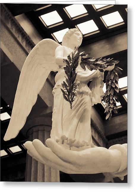 Nike Goddess Of Victory Sepia Greeting Card by Linda Phelps
