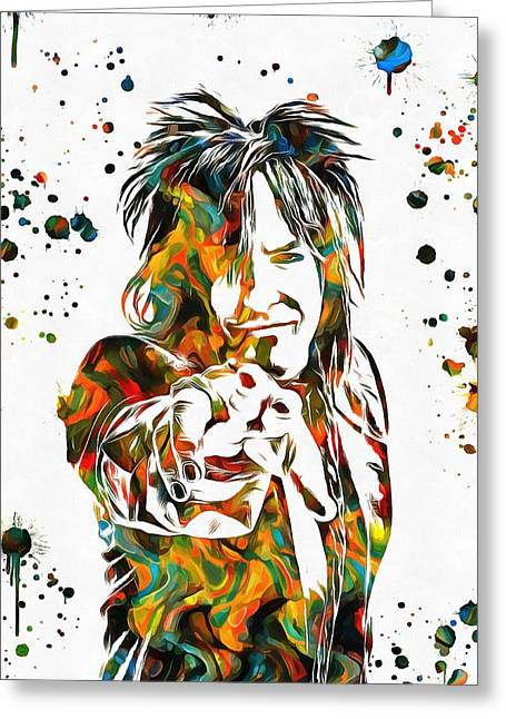 Nikki Sixx Paint Splatter Greeting Card