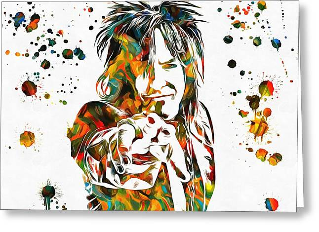 Nikki Sixx Paint Splatter Greeting Card by Dan Sproul