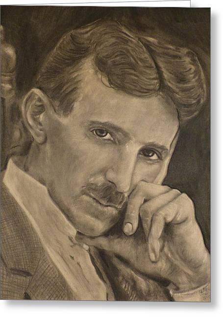Nikola Tesla Greeting Card by Adrienne Martino