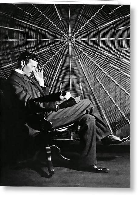 Nikola Tesla And Machine Greeting Card by Daniel Hagerman