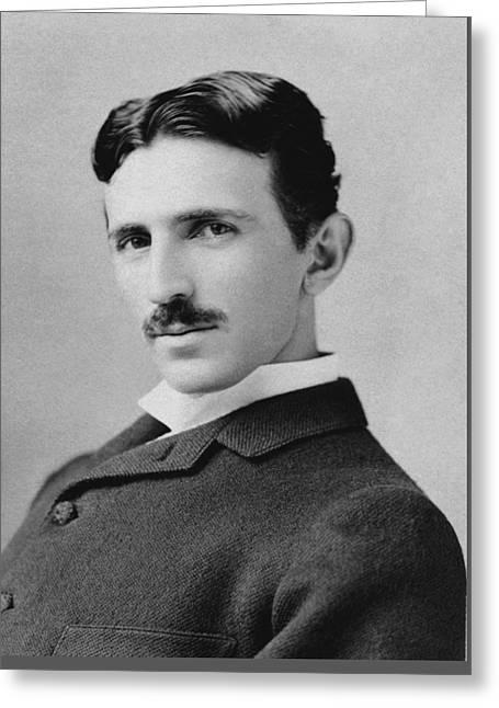 Nikola Tesla - Circa 1890 Greeting Card by War Is Hell Store