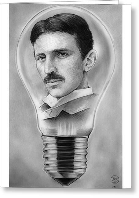 Nikola Tesla Greeting Card by Greg Joens