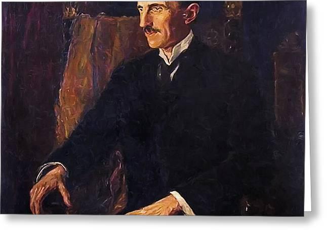 Nikola Tesla - Only Known Life Portrait Greeting Card by Daniel Hagerman