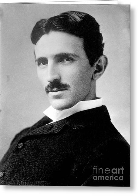 Nikola Tesla, Serbian-american Inventor Greeting Card by Science Source