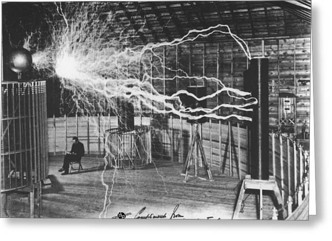 Nikola Tesla Sitting In His Experimental Station Reimagined 1 Greeting Card by Tony Rubino