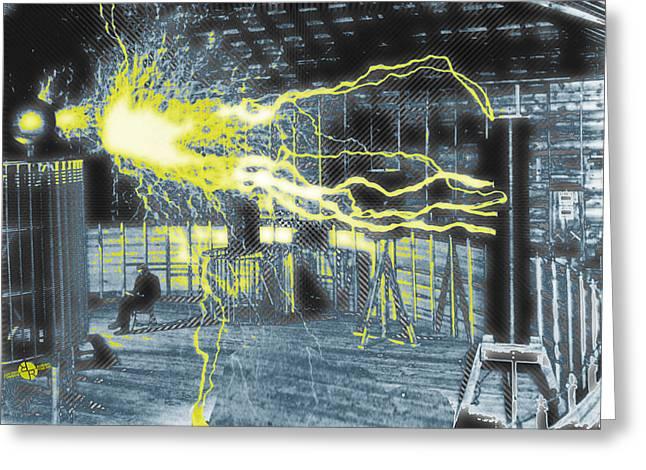 Nikola Tesla Sitting In His Experimental Station Reimagined 2 Greeting Card by Tony Rubino