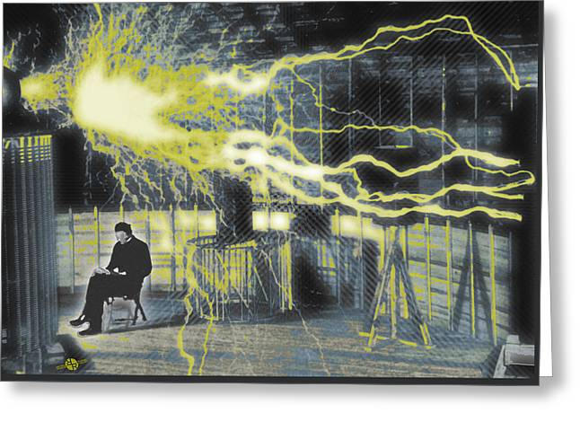 Nikola Tesla Sitting In His Experimental Station Reimagined 4 Greeting Card by Tony Rubino