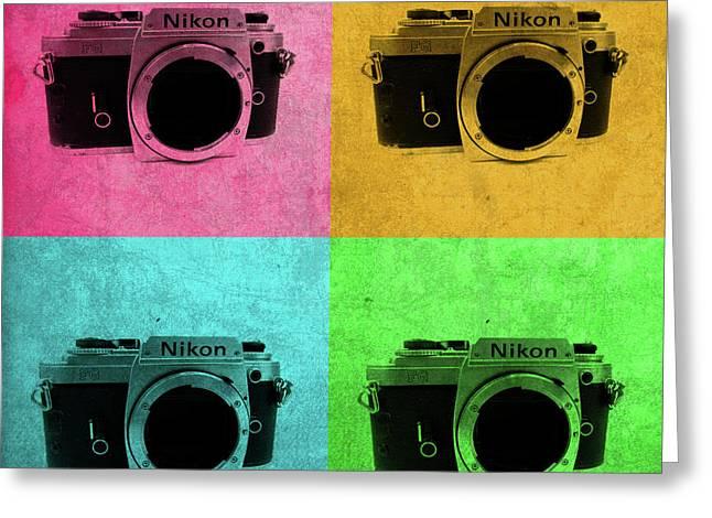 Nikon Camera Vintage Pop Art Greeting Card