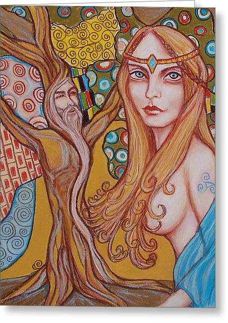 Nimue And Merlin Greeting Card by Tammy Mae Moon