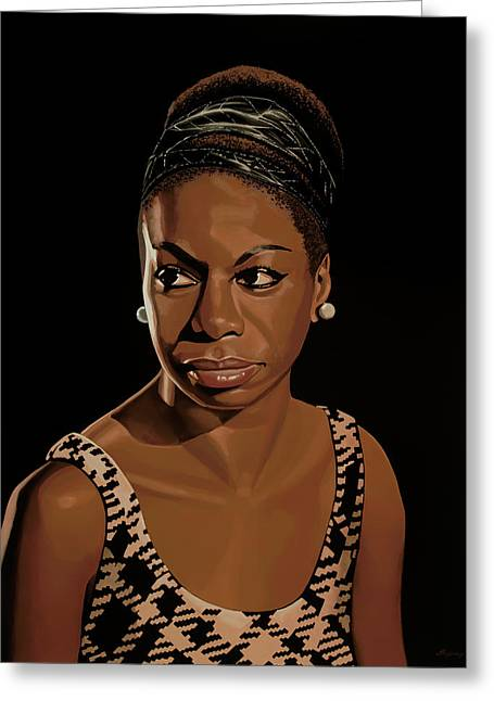 Nina Simone Painting 2 Greeting Card by Paul Meijering