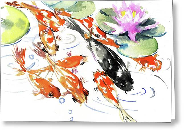 Nine Koi Fish, Feng Shui Artwork Greeting Card
