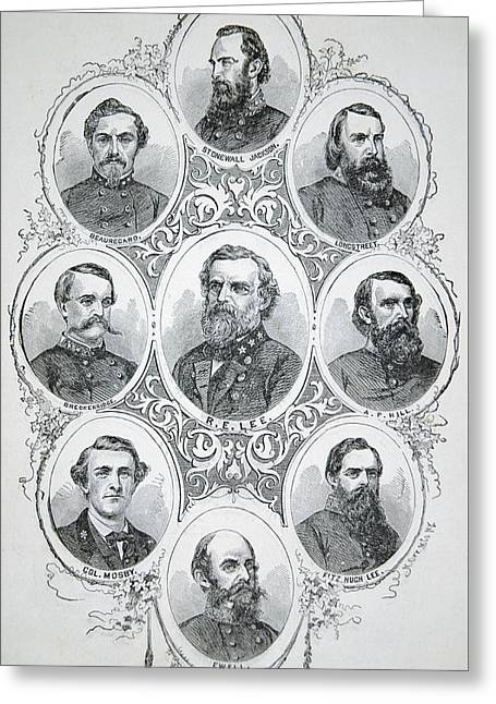 Nine Portraits Of Prominent Generals Of Confederate Army Greeting Card by American School