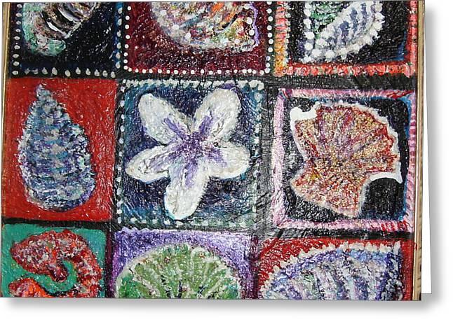 Nine Pretty Shells No Frame Greeting Card by Anne-Elizabeth Whiteway