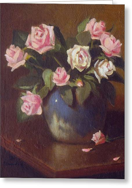Nine Roses In Blue And White Vase Greeting Card by David Olander