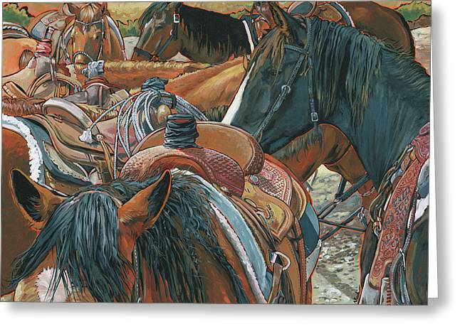 Greeting Card featuring the painting Nine Saddled by Nadi Spencer