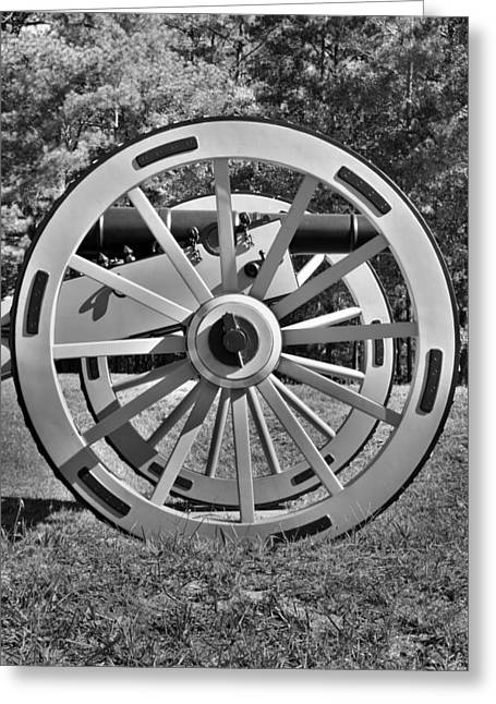 Ninety Six National Historic Site Cannon Wheel Black And White Greeting Card