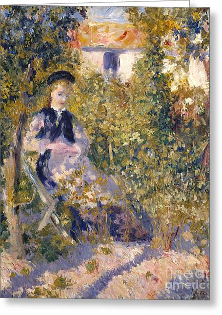 Nini In The Garden, 1876 Greeting Card by Pierre Auguste Renoir