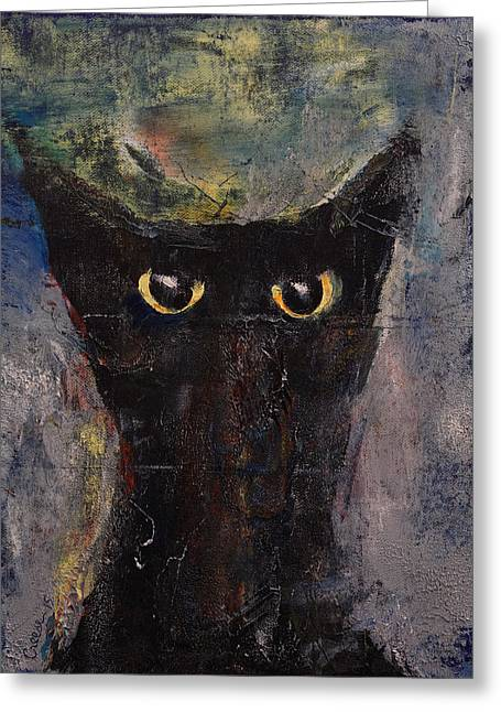 Ninja Cat Greeting Card by Michael Creese