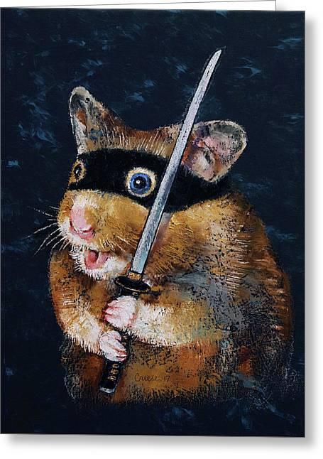 Ninja Hamster Greeting Card by Michael Creese
