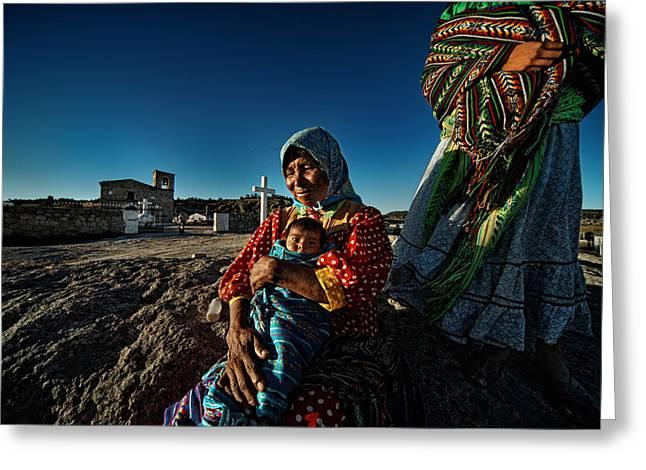 Nino, Abuela Y Mama Raramuri En Barrancas Del Cobre - Chihuahua, Mx Greeting Card by Massimo Benenti