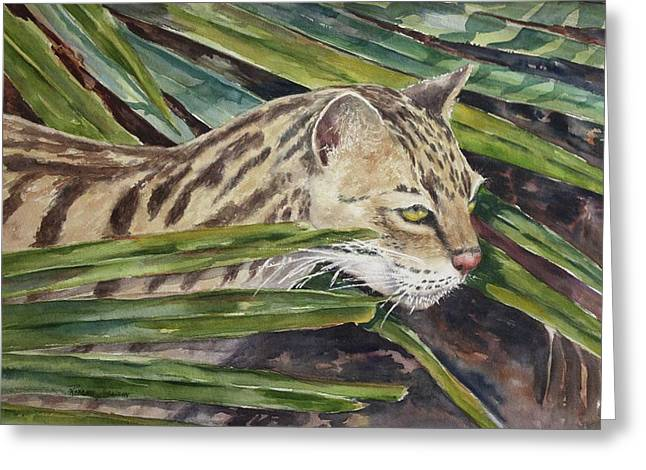 Greeting Card featuring the painting Nirvana - Ocelot by Roxanne Tobaison