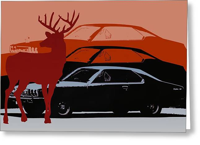 Nissan 210 With Deer 3 Greeting Card