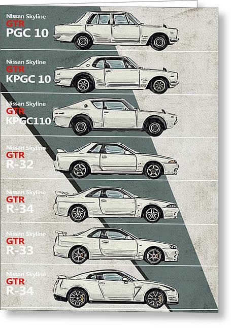 Nissan Skyline Gtr History - Timeline - Generations Greeting Card